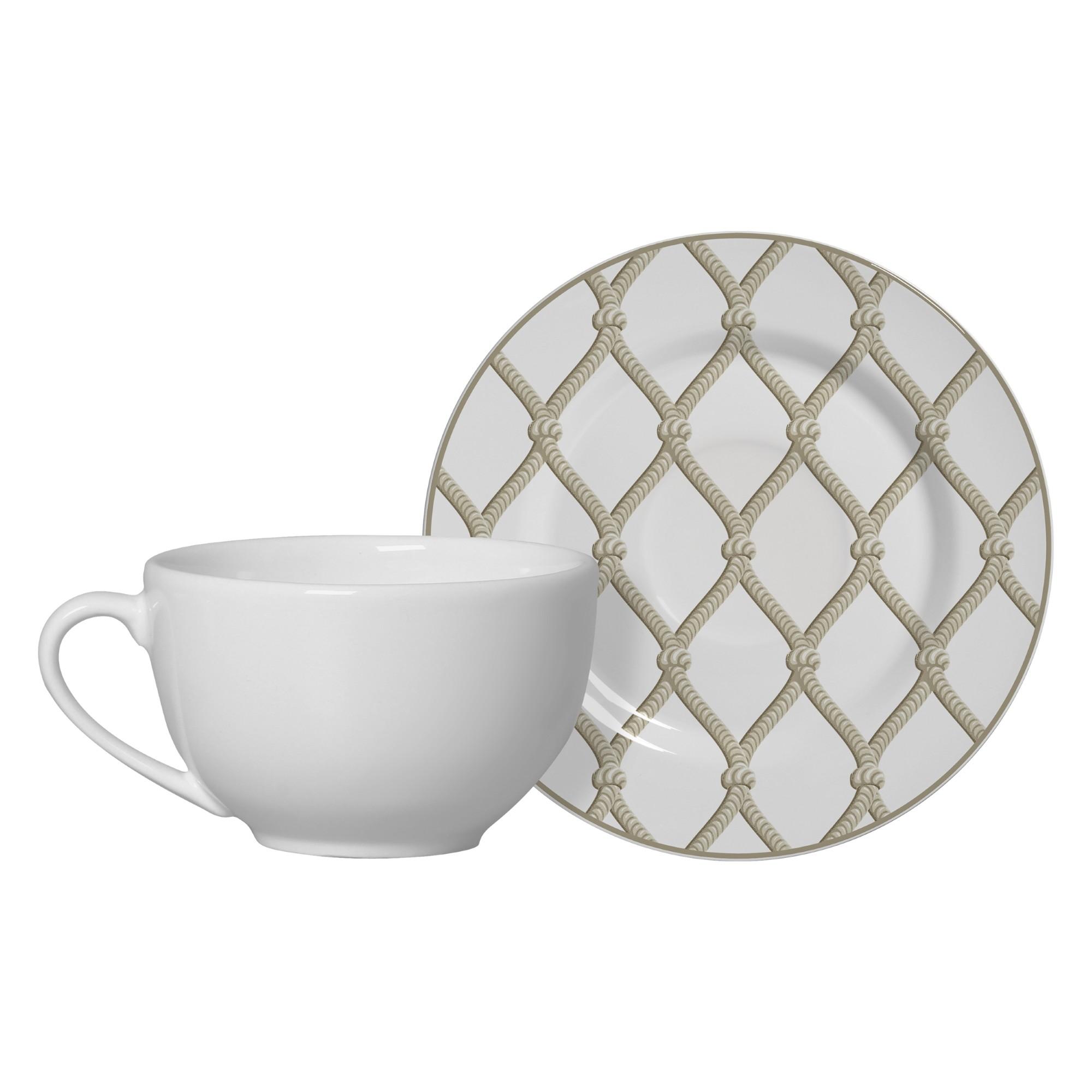 Xicara de Cha de Ceramica 300ml com Pires Nautica - Alleanza
