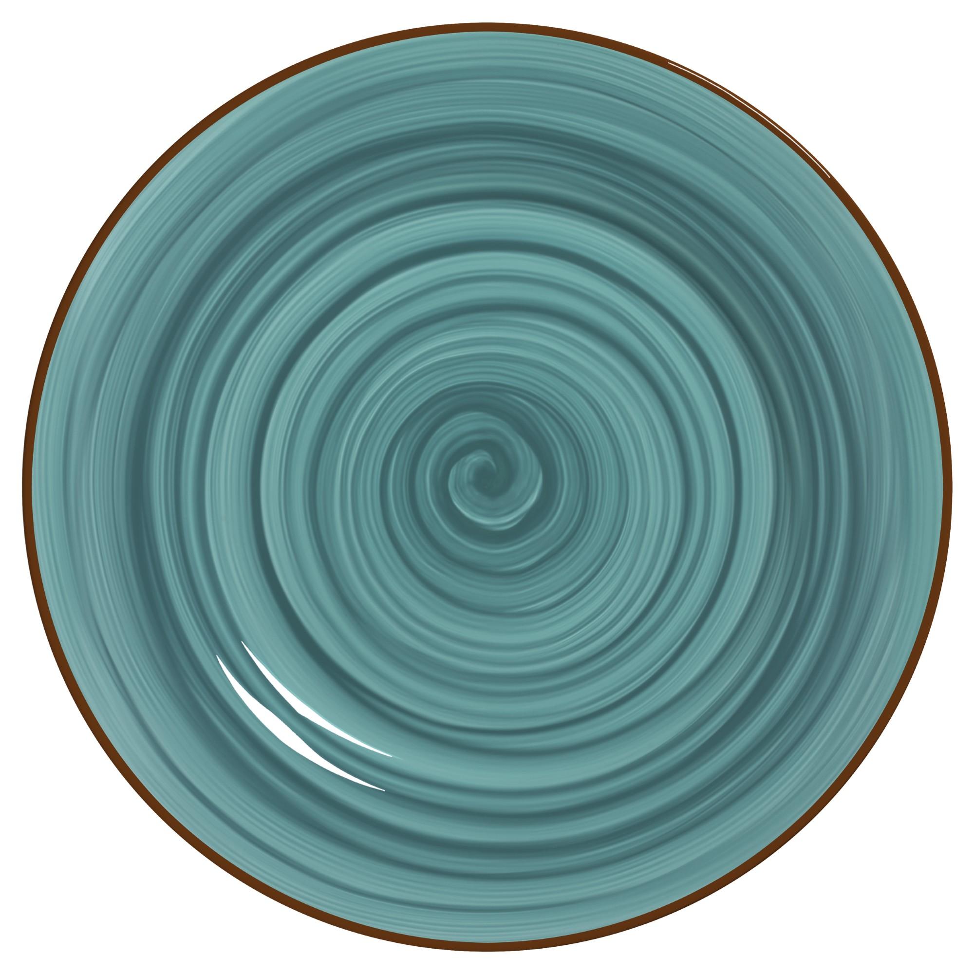 Prato Raso Redondo em Ceramica Celeste 28cm - Alleanza