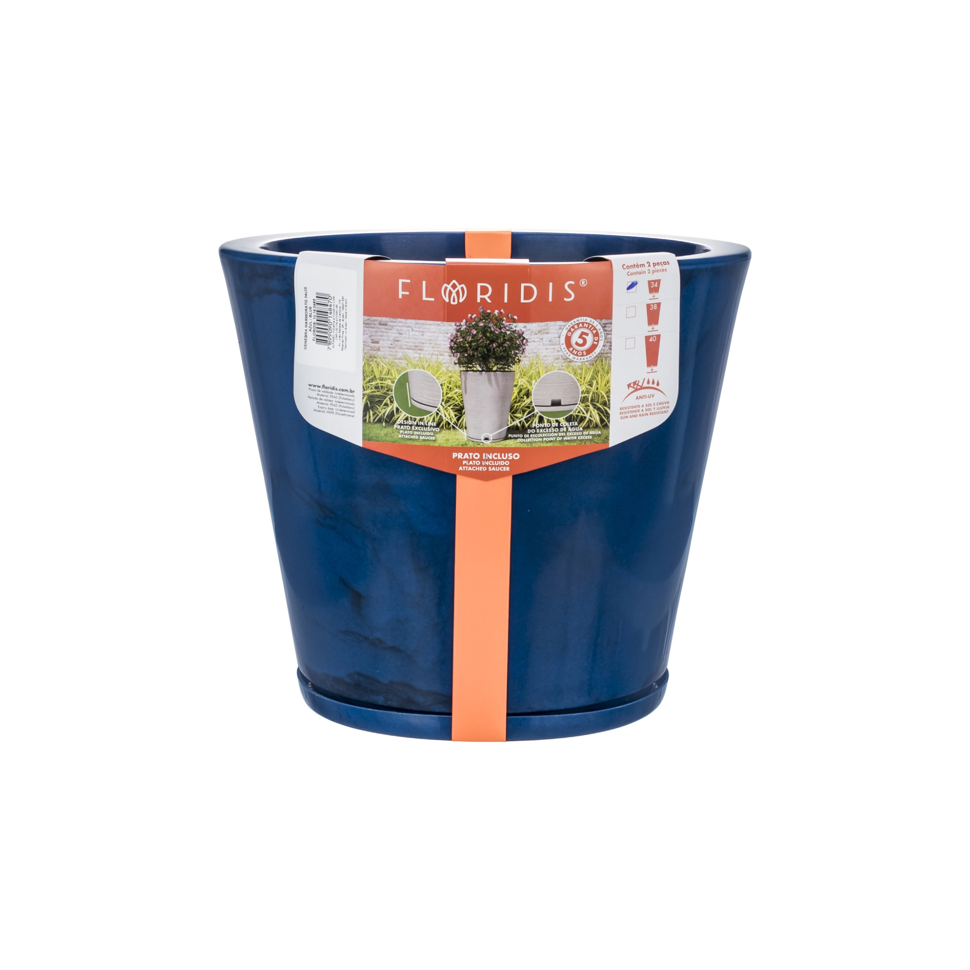 Vaso e Prato para Plantas Marmorato 35x40 cm Conico Azul escuro - Florids