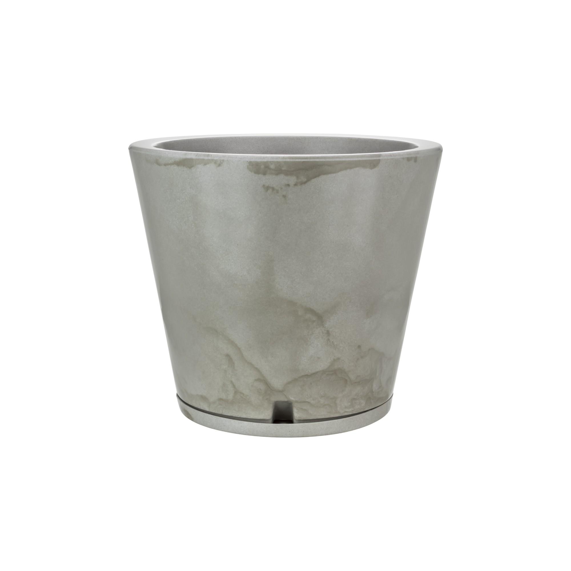 Vaso e Prato para Plantas Marmorato 35x40 cm Conico Branco - Florids