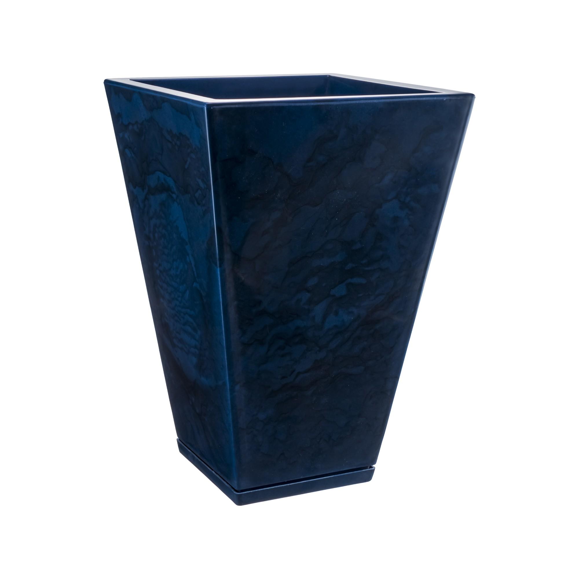 Vaso e Prato para Plantas Marmorato 55x38 cm Trapezio Azul escuro - Florids