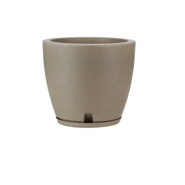 Vaso e Prato para Plantas Plastico 28x32 cm Conico Bege - Florids