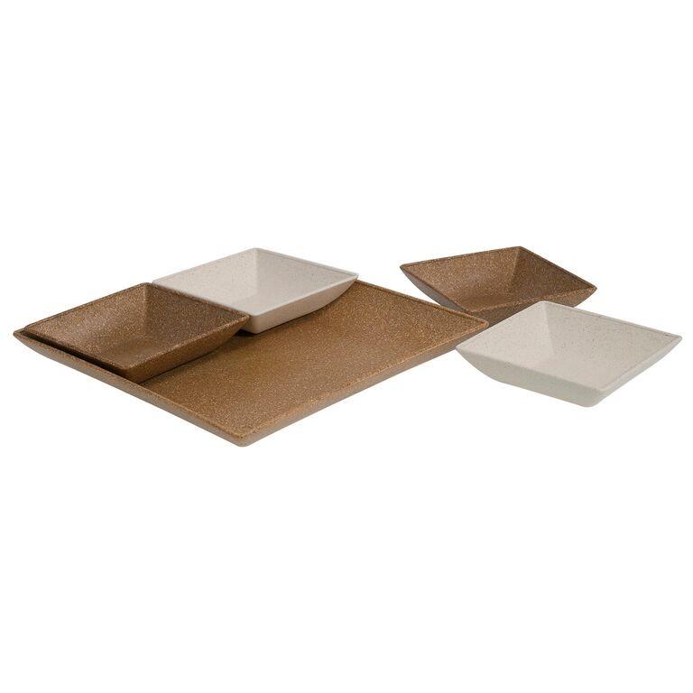 Conjunto de Petisqueiras de Plastico 5 Pecas Quadradas Cerejeira - Evo