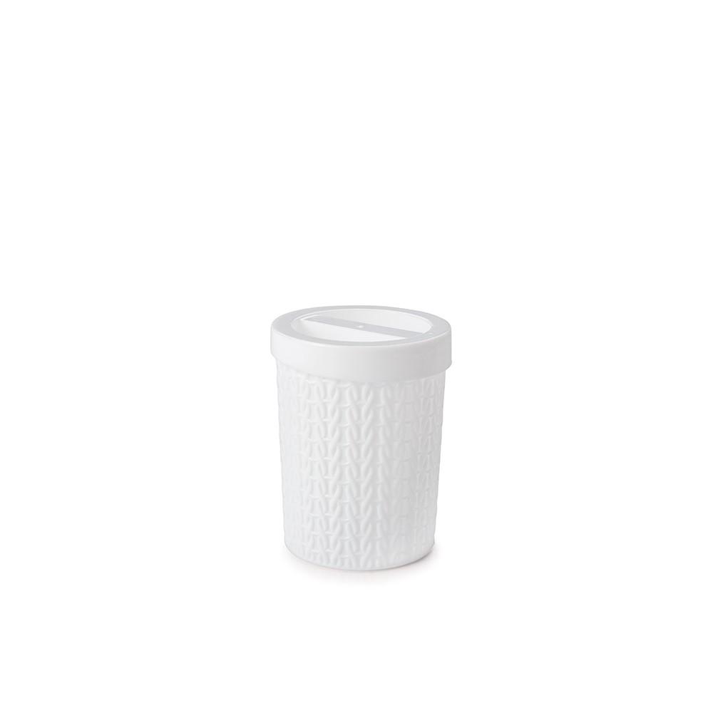 Porta Cotonete Plastico Trama Branco 8828 - Plasutil