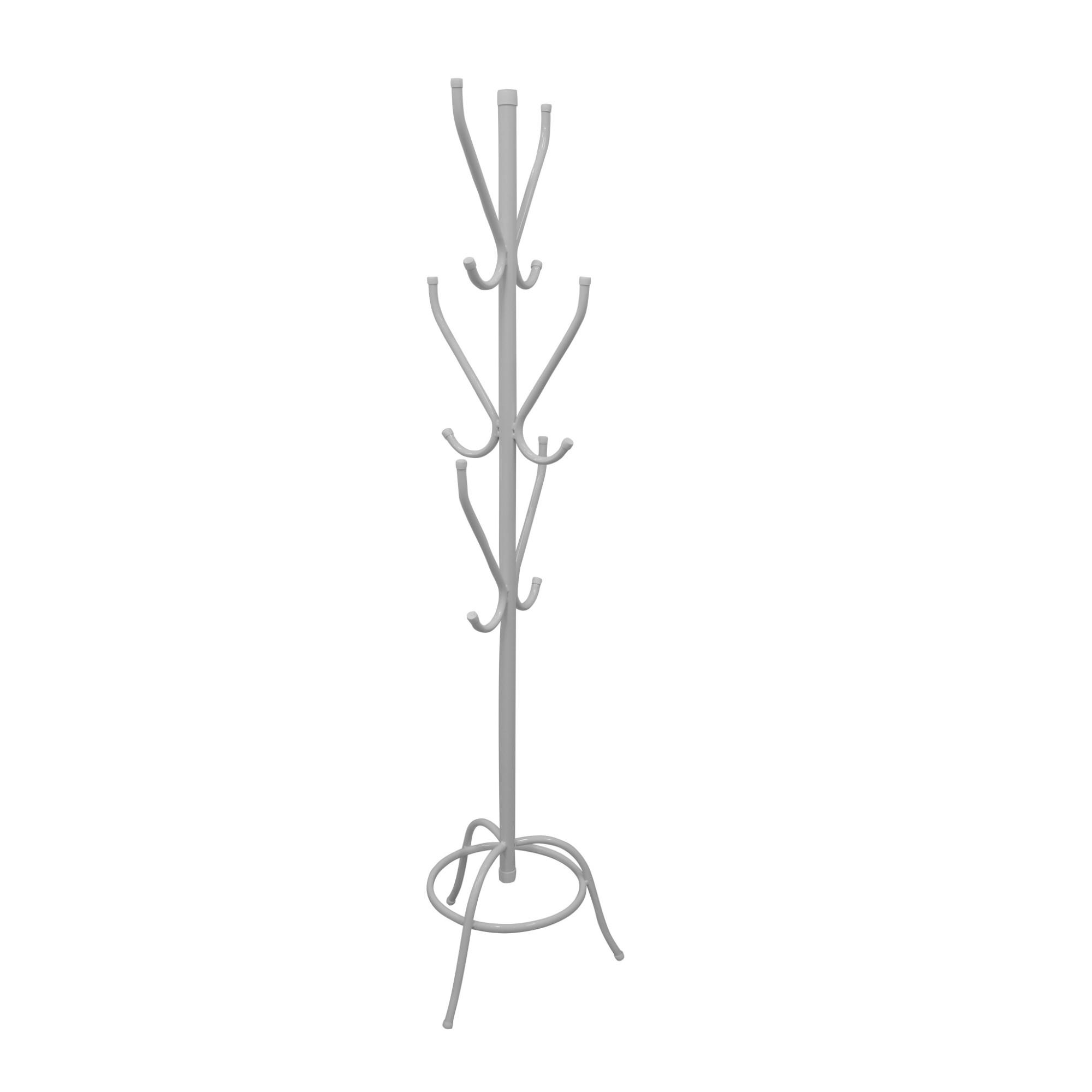 Cabideiro Branco em Aco Carbono 170 cm 6 Hastes - Acomix