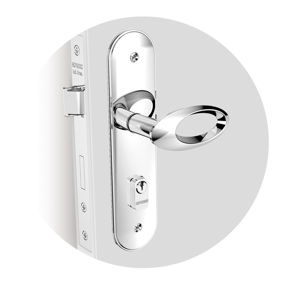 Fechadura Externa Espelho 40 mm Zamac Cromado Open Golf - 03001070617 - Soprano