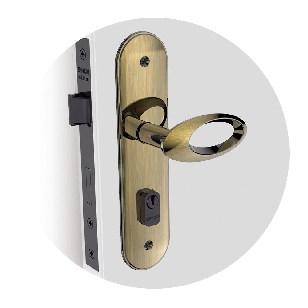 Fechadura Externa Espelho 40 mm Zamac Antique Open Golf - 03001070615 - Soprano