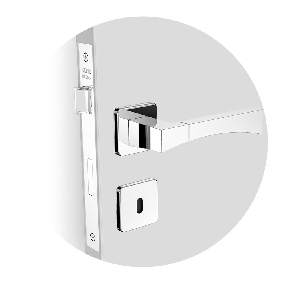 Fechadura Interna Roseta 40 mm Aluminio Cromado Sense - 03141084017 - Soprano