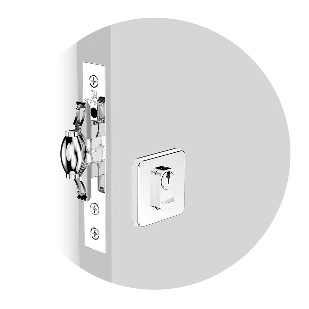 Fechadura 3 em 1 para Porta de Madeira 3 Inox - 03001091191 - Soprano