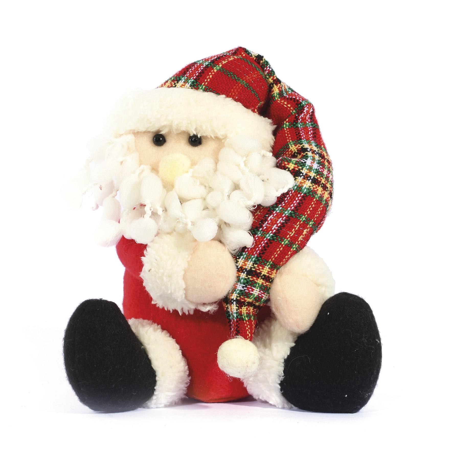 Papai Noel de Tecido 21 cm Sentado - Magizi