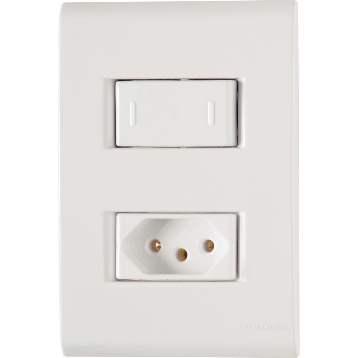 Conjunto de 1 Interruptor Simples Tomada de Energia 2 Modulos 2P T 10A - Tramontina