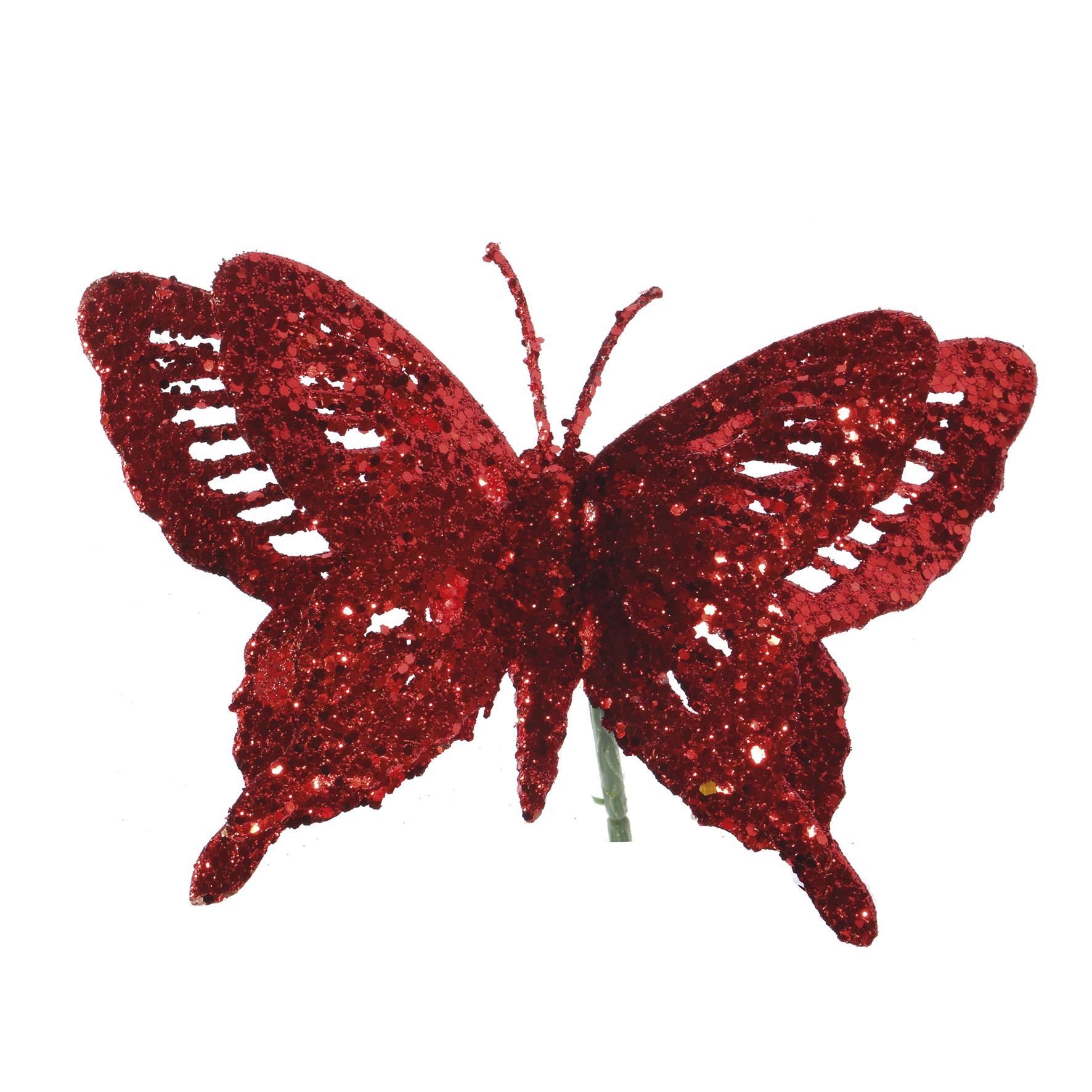 Enfeite Natalino Borboleta 23 cm Vermelho - 20205 - Yangzi