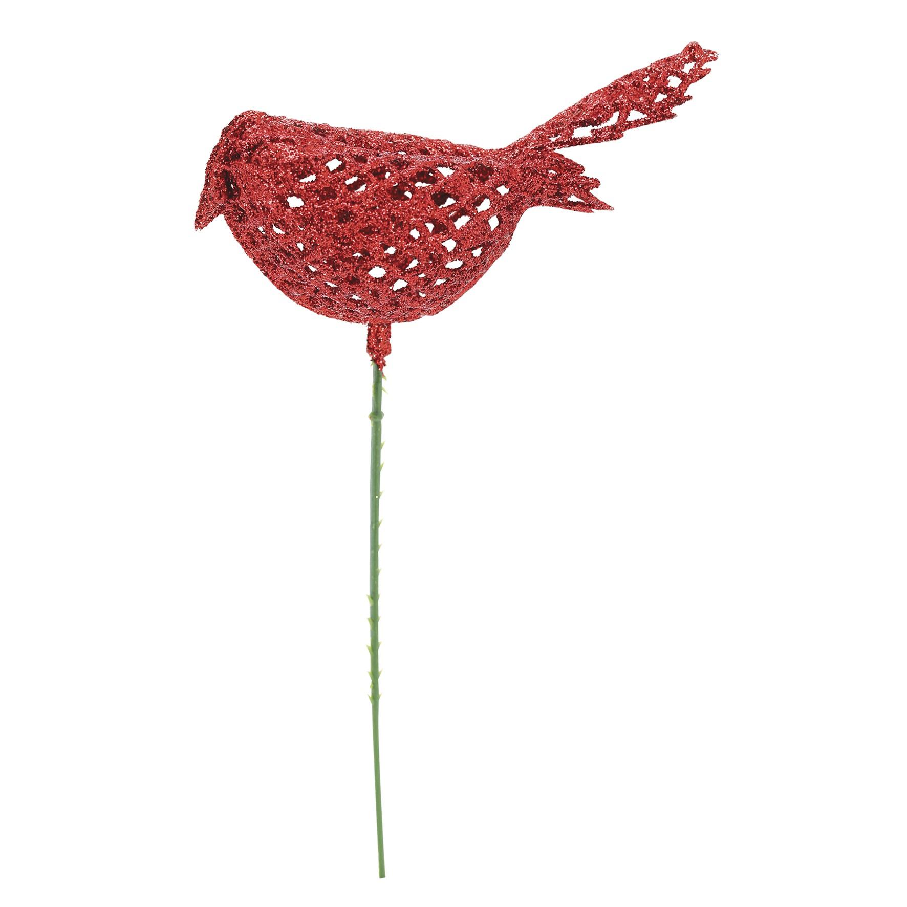 Haste Natalina 17 cm Passaro Vermelha - 18169