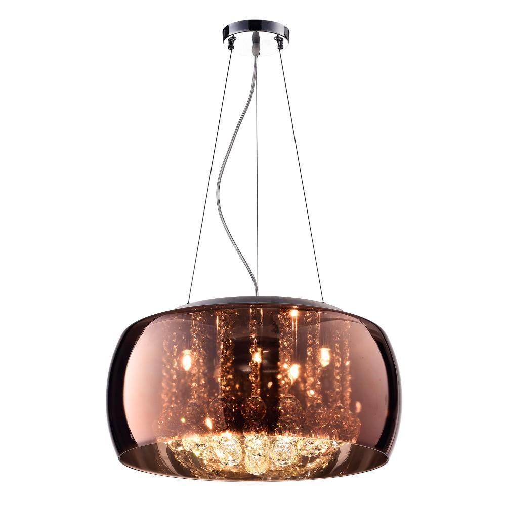 Lustre de Vidro e Cristal para 5 Lampadas 40x32 cm Cobre - Nitrolux