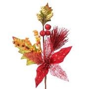 Haste de Natal Flor Artificial 42cm Bico de Papagaio Vermelha 17130-009