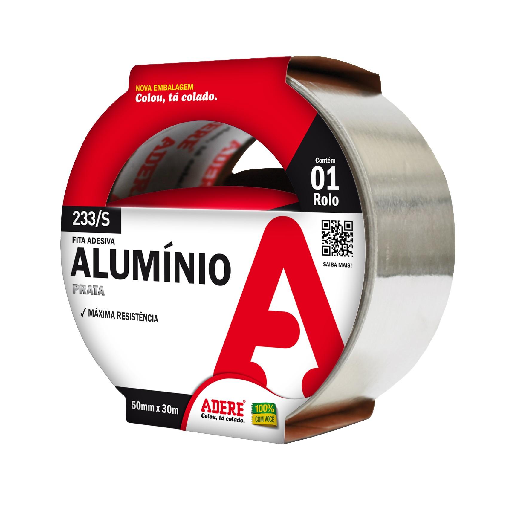 Fita Adesiva Aluminio 25mm x 30m Cinza 1 Unidade - Adere