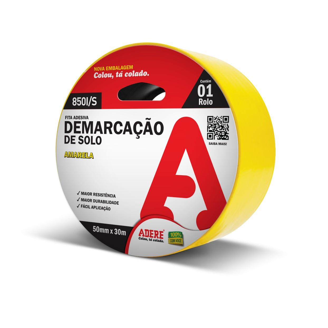 Fita Adesiva Demarcacao 50mm x 30m Amarela 1 Unidade - Adere