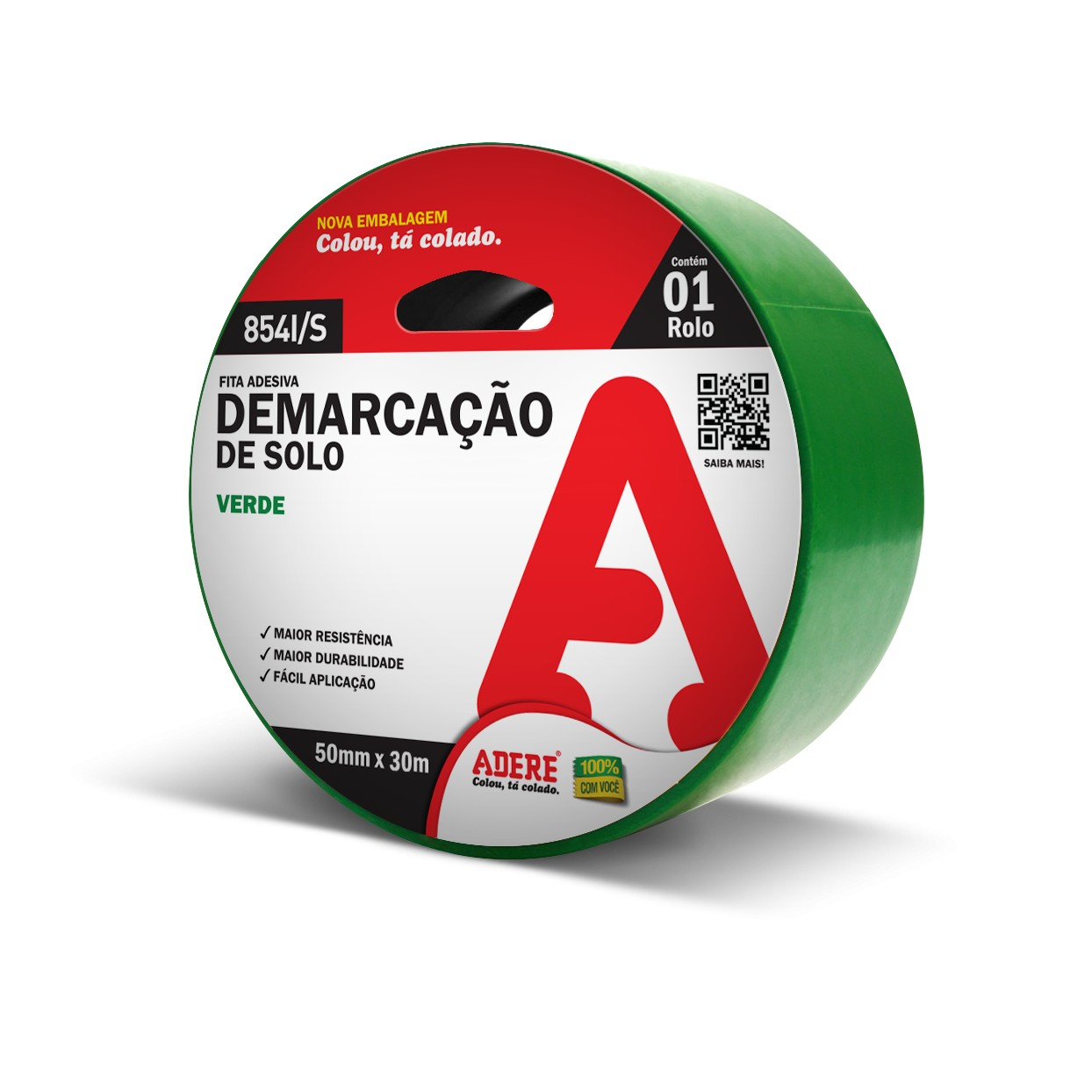 Fita Adesiva Demarcacao 50mm x 30m Verde 1 Unidade - Adere