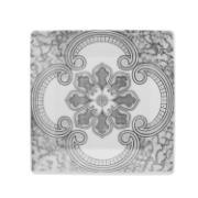 Prato de Sobremesa Quadrado em Porcelana Pantheon Cinza Claro 20cm - Oxford