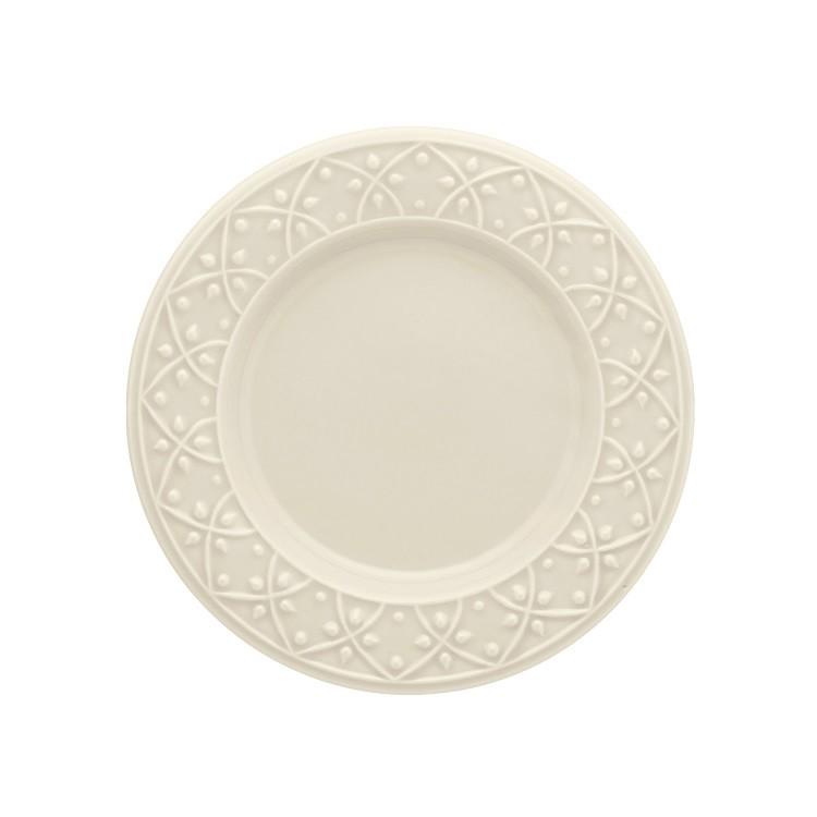 Prato de Sobremesa Redondo em Ceramica Daily Mendi Marfim 20cm - Oxford