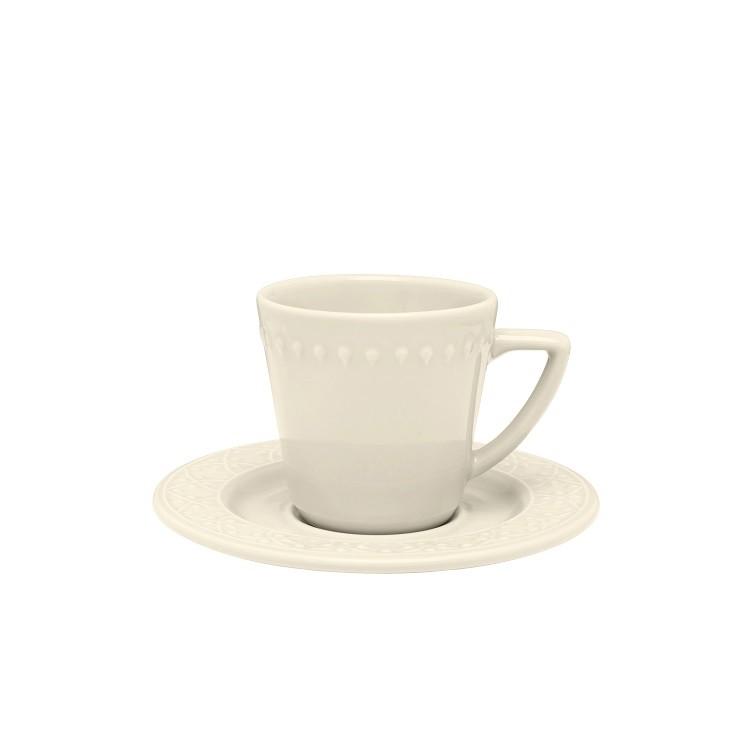 Xicara de Cha de Ceramica 220ml com Pires Marfim Daily Mendi - Oxford