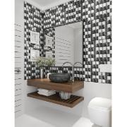 Banheiro moderninho com revestimento acetinado