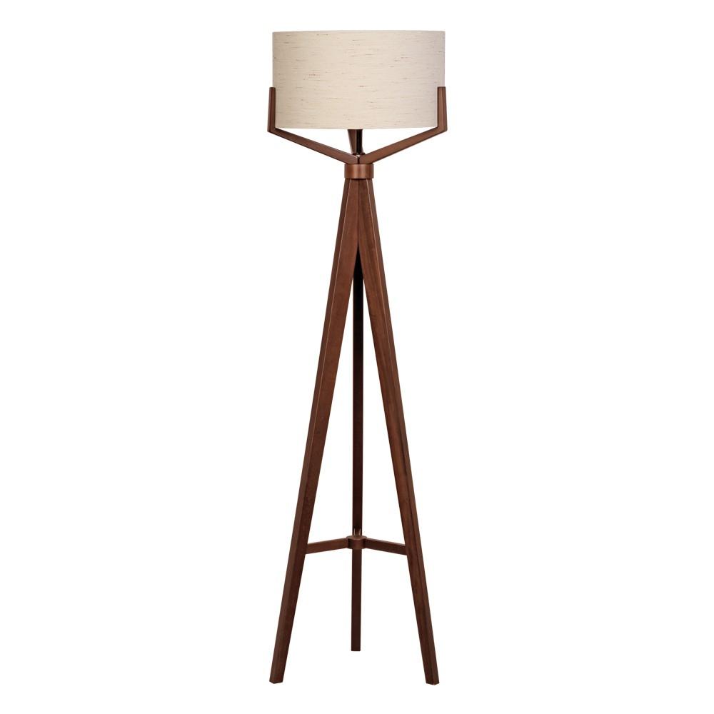Luminaria de Coluna MDF e Tecido 153m Cupula 50cm Wengue - 5L Trevisan