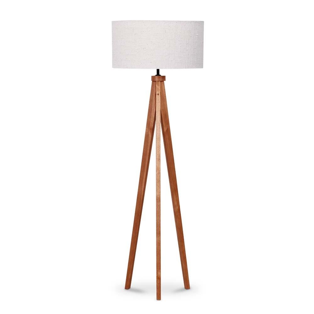 Luminaria de Coluna MDF e Tecido 152m Cupula 50cm Imbuia - 5L Trevisan
