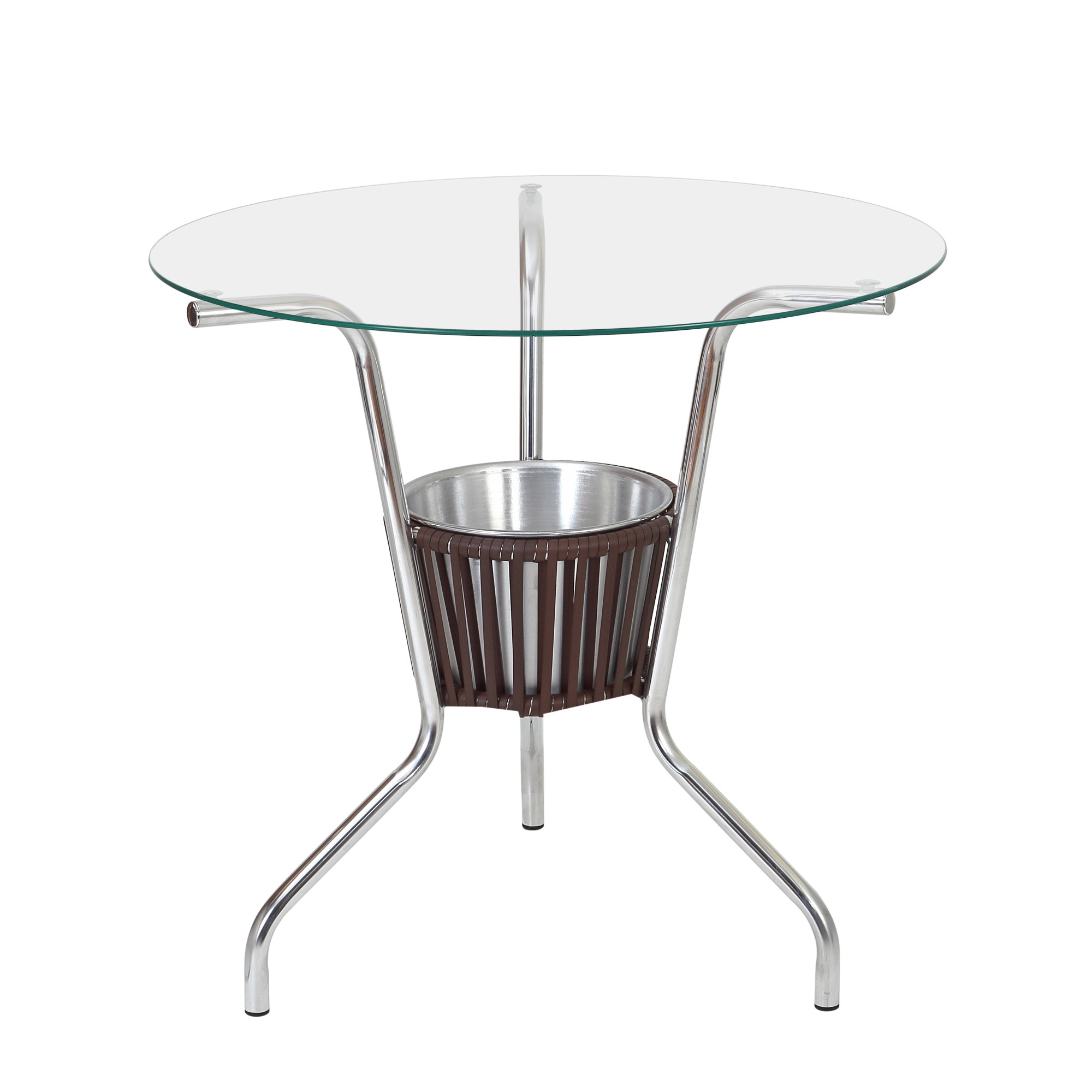 Mesa Bar Aluminio e Vidro 70cm com Balde Castanho - Alegro