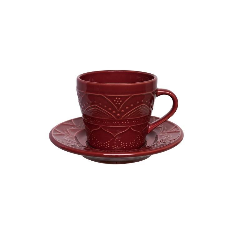 Xicara de Cha de Ceramica 220ml com Pires Vermelho Escuro Veludo - Oxford