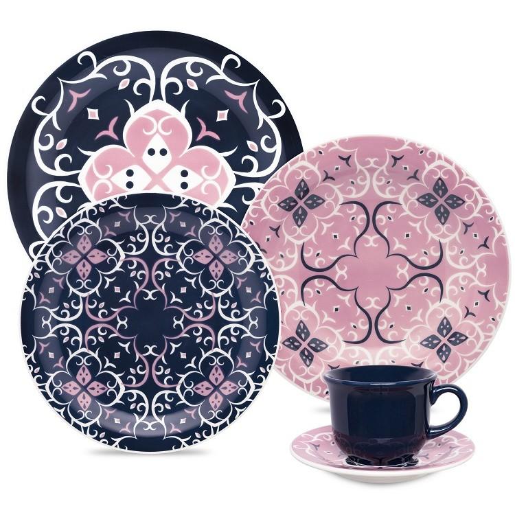 Aparelho de Jantar de Ceramica 20 Pecas Azul Hana - Oxford