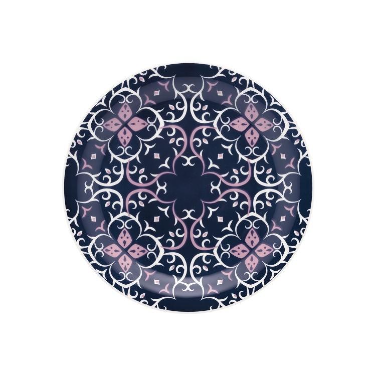 Prato de Sobremesa Redondo em Ceramica Hana Azul 20cm - Oxford