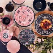 Prato de Sobremesa Redondo em Cerâmica Hana Azul 20cm - Oxford