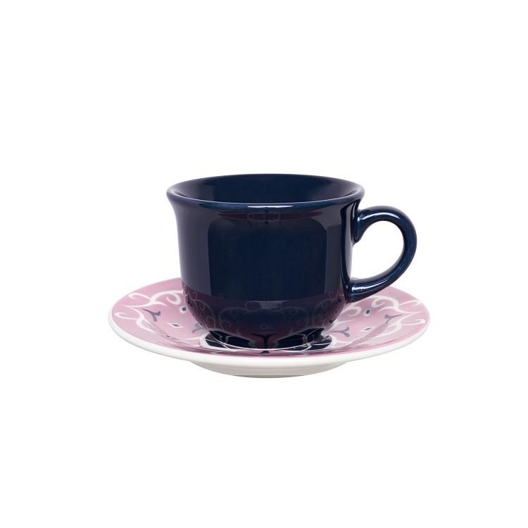 Xicara de Cha de Ceramica 200ml com Pires Azul Hana - Oxford