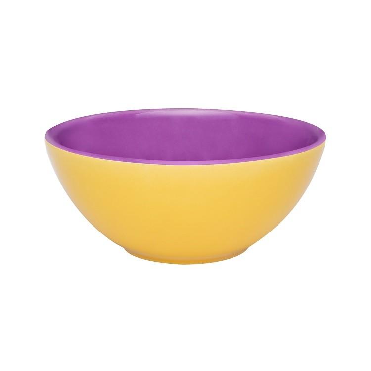 Tigela de Ceramica Redonda 16cm Amarela e Violeta - Oxford