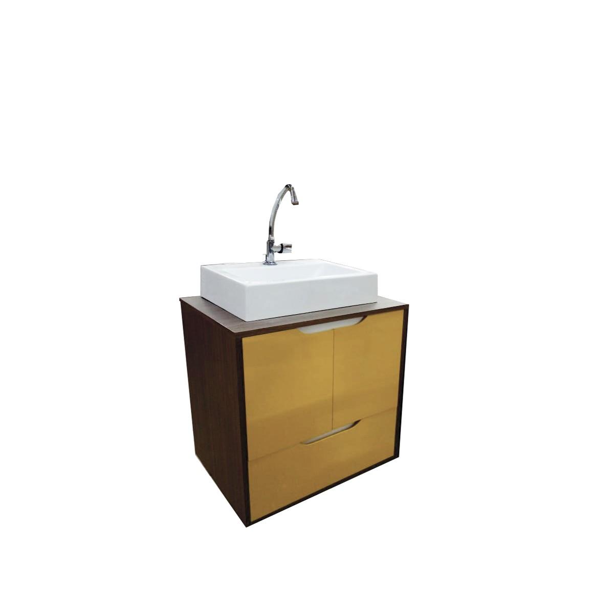 Gabinete para Banheiro 59x60cm Nogueira Guaruja 114010432 - Policlass