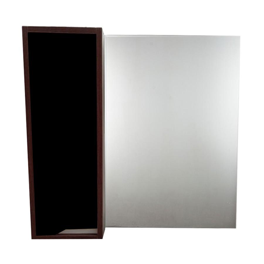 Espelheira Retangular 60x58cm Nogueira e Preto - Policlass