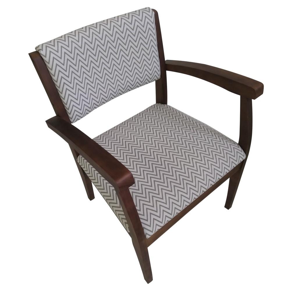 Poltrona Cadeira de Aproximacao com Apoio de Braco Chevron Bege - L2 Design