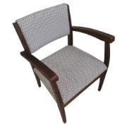Poltrona Cadeira de Aproximação com Apoio de Braço Chevron Bege - L2 Design