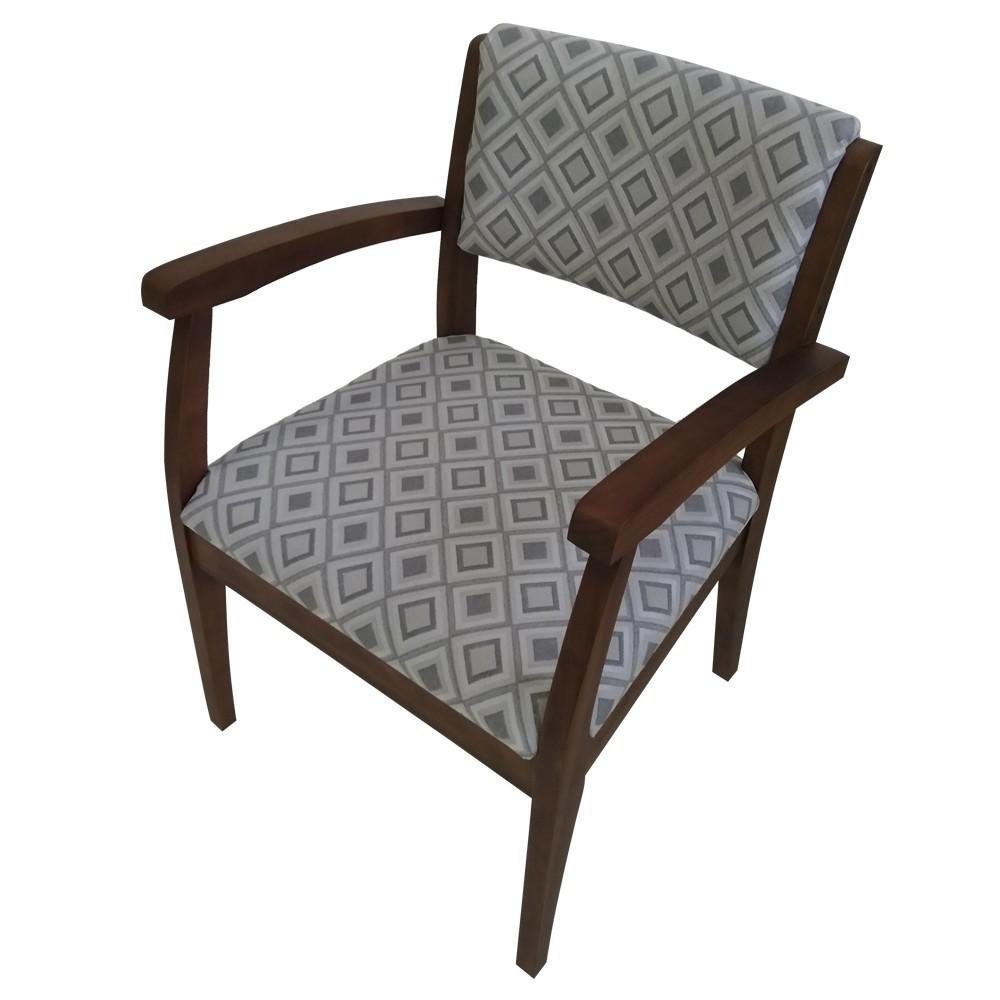 Cadeira Estofada de Aproximacao com Apoio de Braco Jacquard Losango Cinza - L2 Design