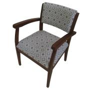 Cadeira Estofada de Aproximação com Apoio de Braço Jacquard Losango Cinza - L2 Design