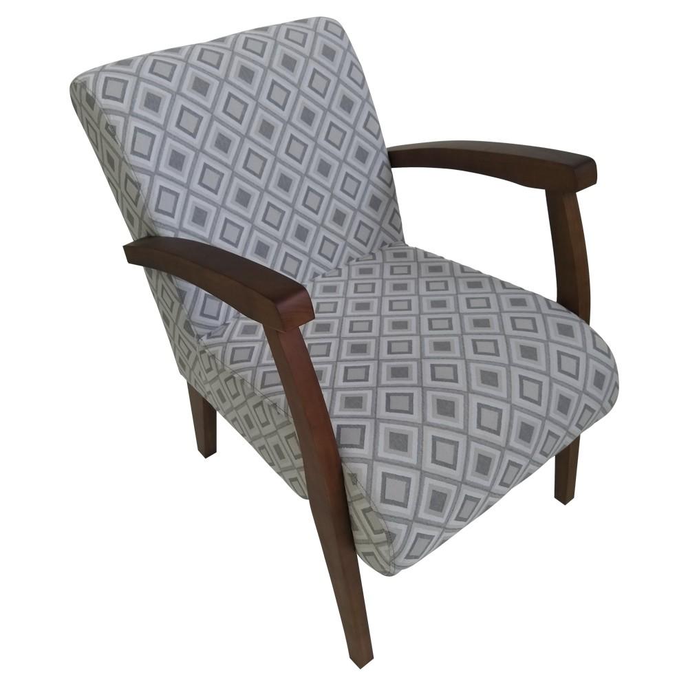 Cadeira Estofada de Aproximacao com Apoio de Braco Jacquard Losango Cinza 57 - L2 Design