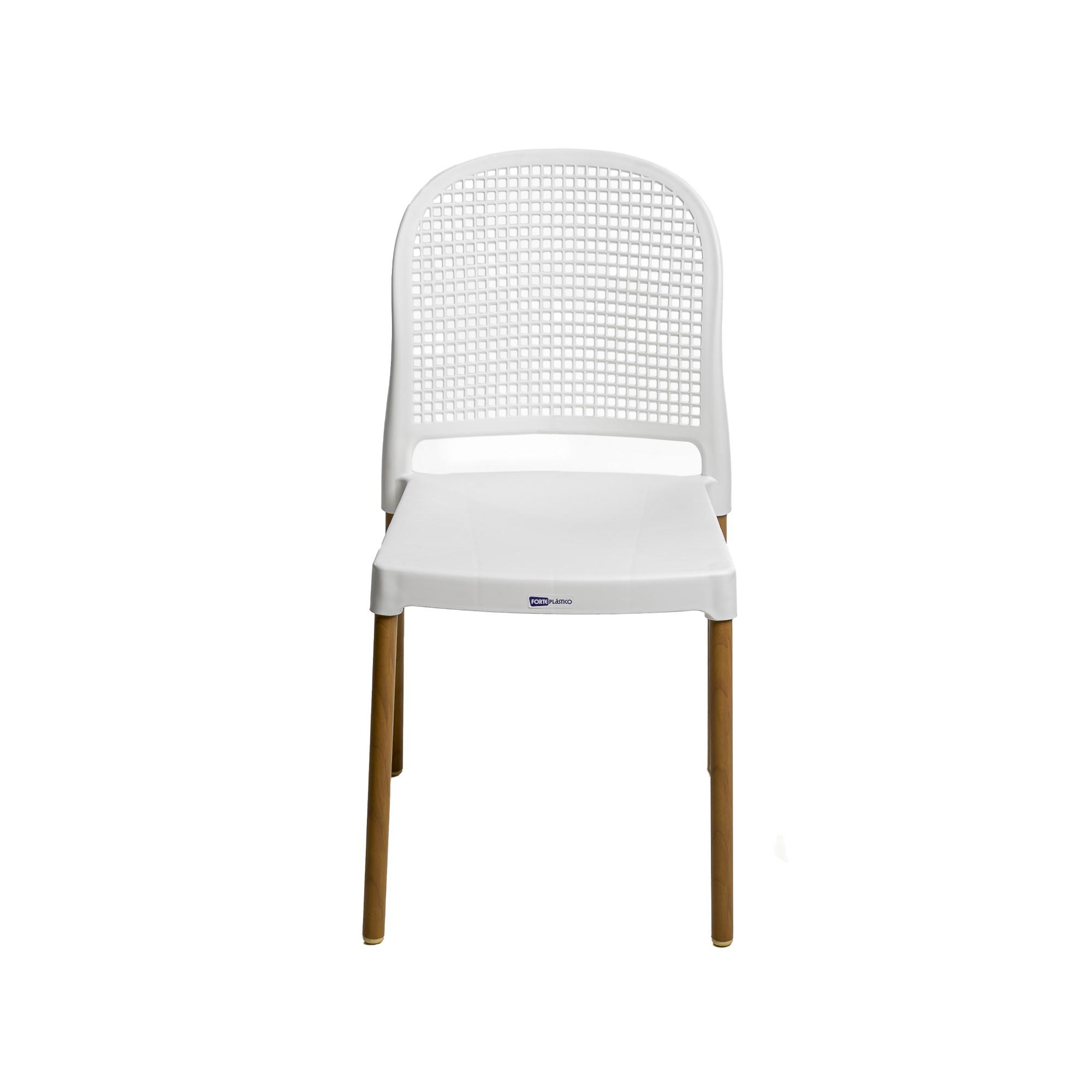 Cadeira Vintage Aluminio e Plastico Branca - Forte Plastico