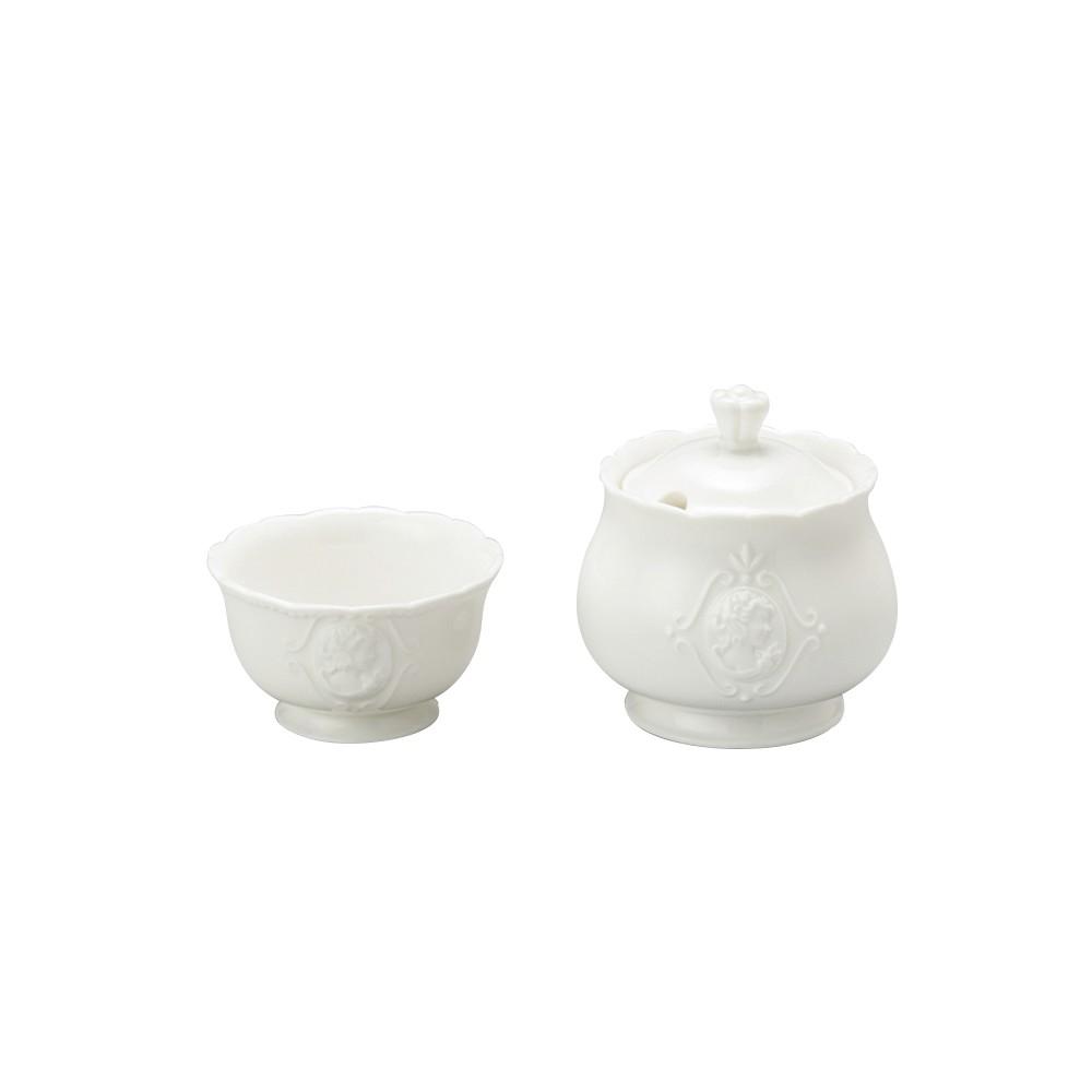 Acucareiro e Porta-adocante Porcelana Branco - Coliseu