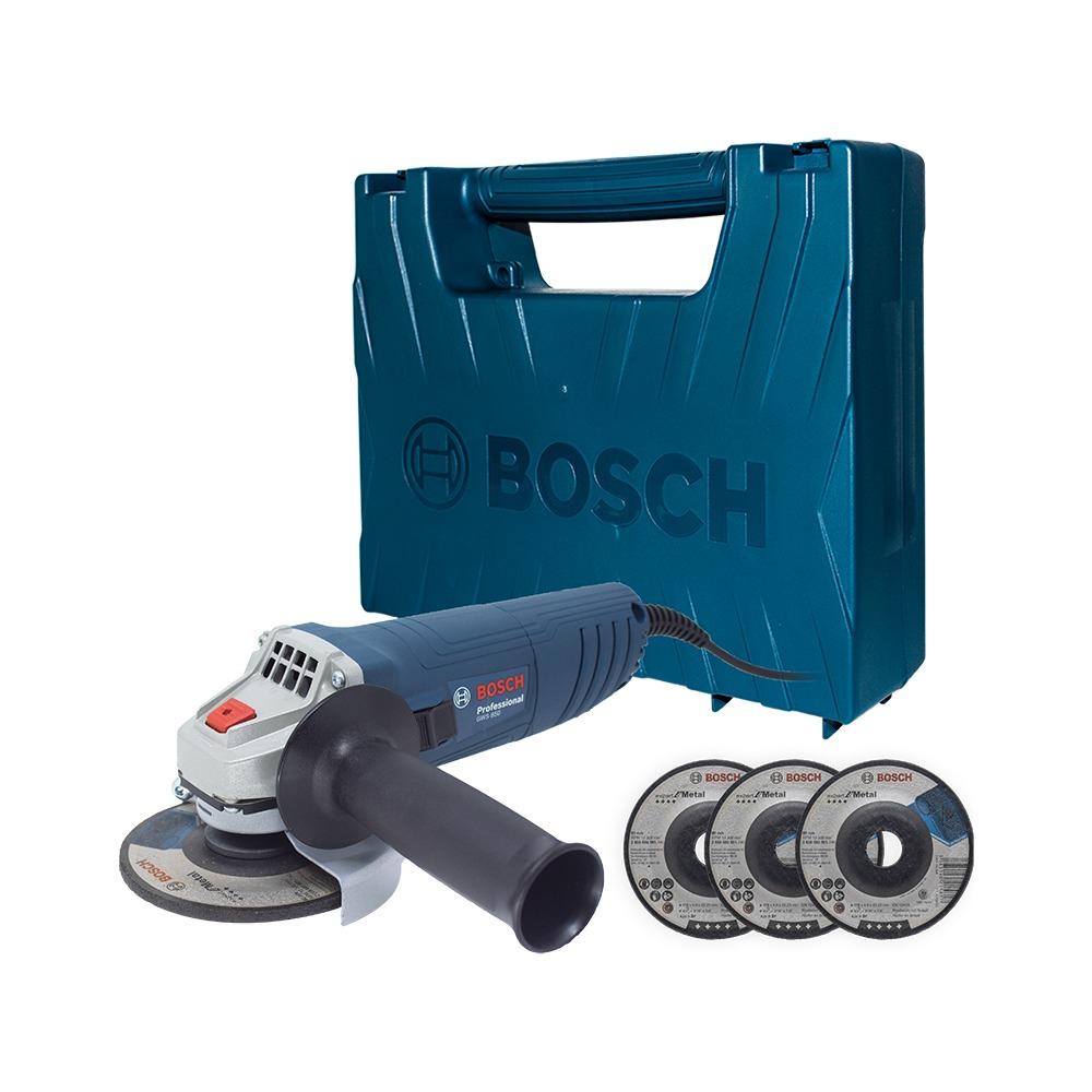 Esmerilhadeira Angular de 4 12 Bosch GWS 850 850W 220V com 3 Discos em Maleta