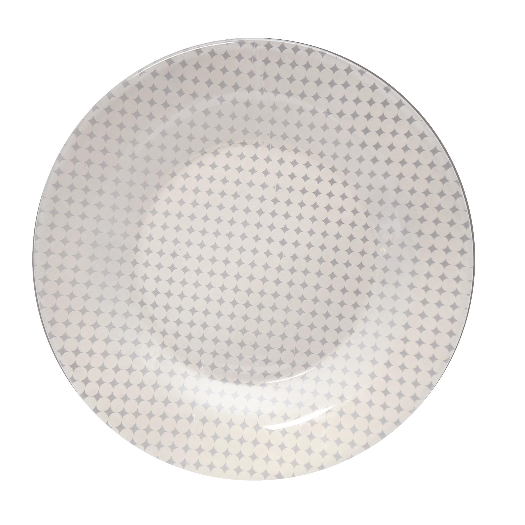 Prato de Sobremesa em Vidro Bege 19cm -