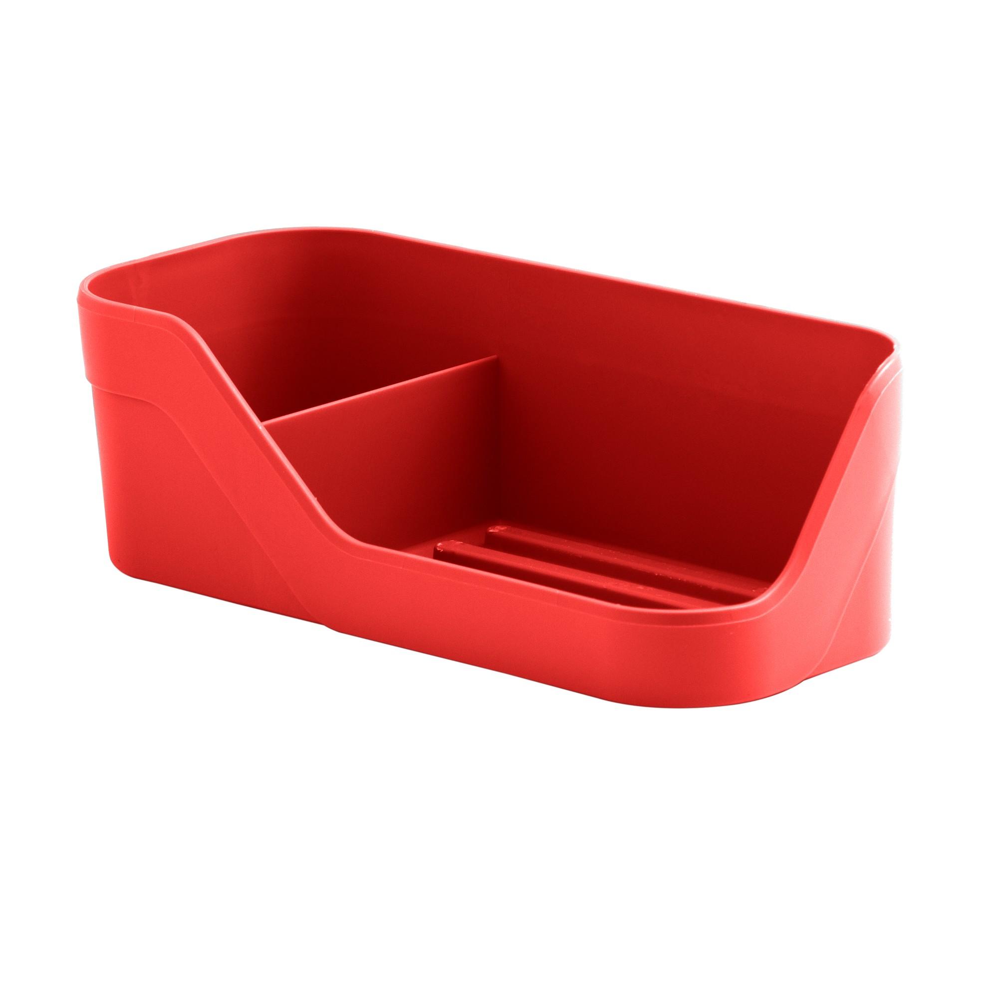 Suporte para Sabao e Esponja Plastico Vermelho OP 500 - Ou