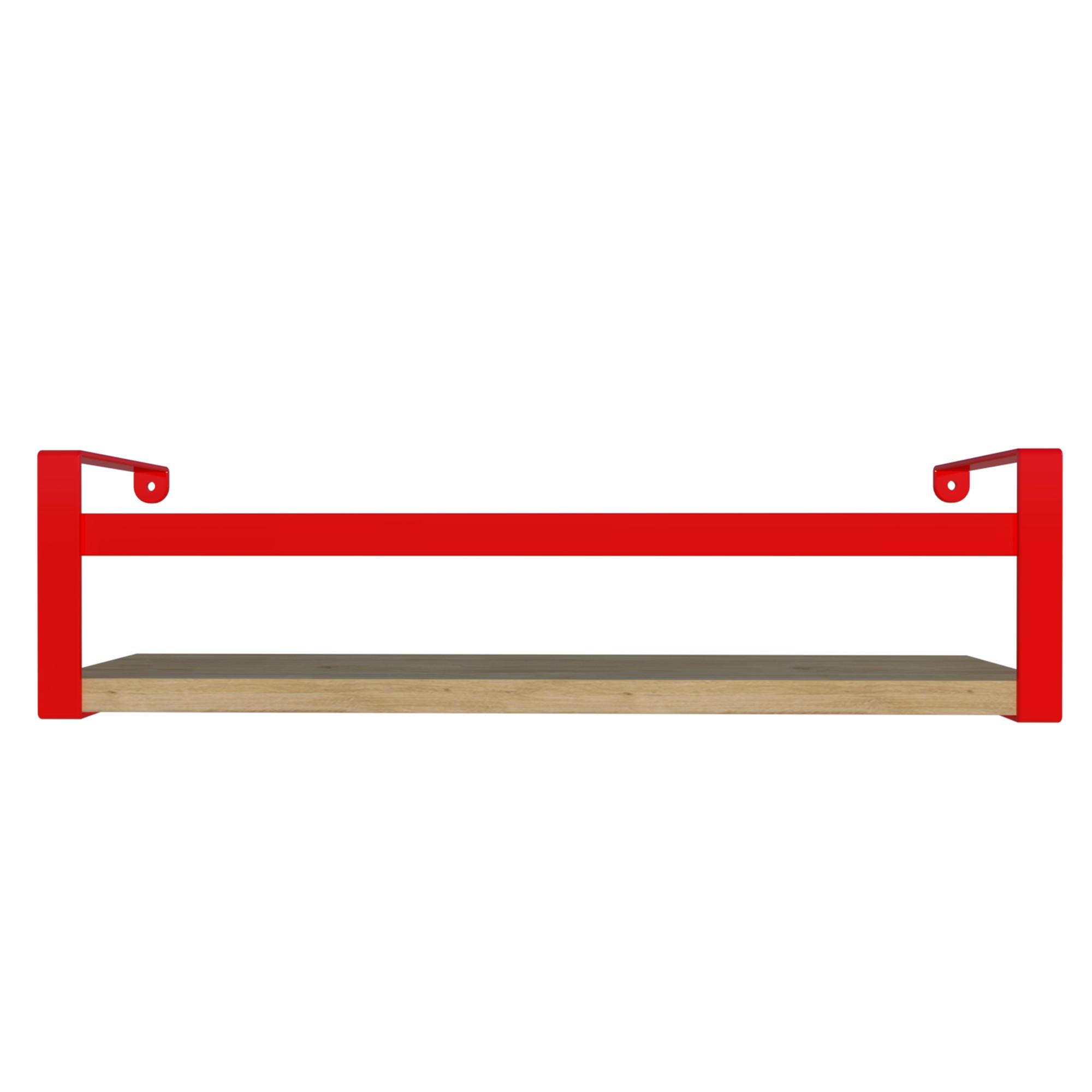 Prateleira Box em Aco e MDF 45x10cm Vermelho - DiCarlo