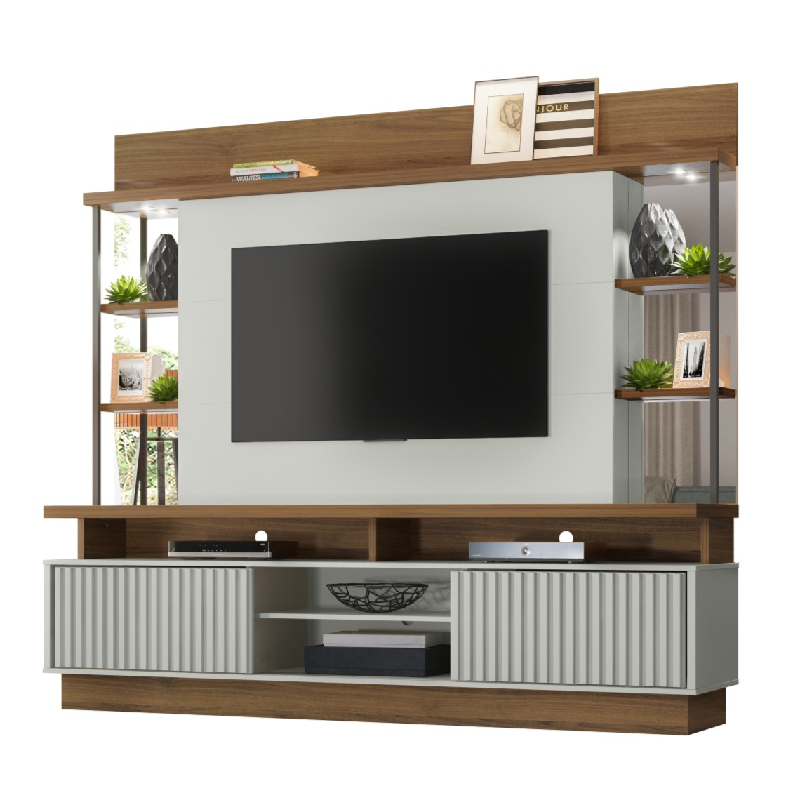 Estante Home Tv e Painel MDF e MDP 218cm Salvador Off White e Nogueira - Linea