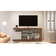 """Rack para Tv 65"""" Gramado MDP 160cm Off White e Nogueira - Linea"""